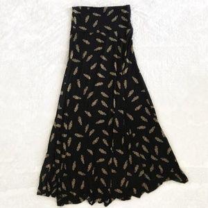 LuLaRoe Mosaic Feather Midi Black Skirt - Size XS
